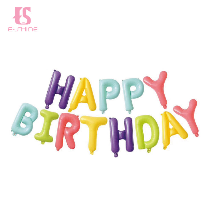 Pastel Mixed Happy Birthday Balloons Bunting Banner Set - PartyMonster.ae