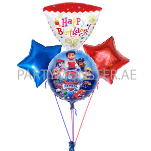 Paw Patrol Happy Birthday Balloons Bouquet for sale online in Dubai