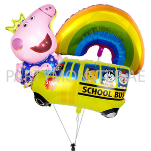 peppa pig school bus balloons bouquet for sale online in Dubai