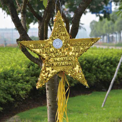 Pinata unfilled Golden star shaped - PartyMonster.ae