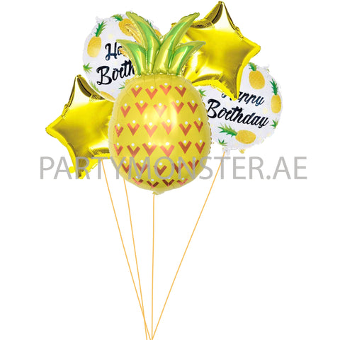 Pineapple themed balloons bouquet - PartyMonster.ae