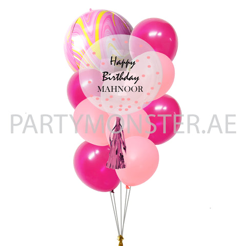 pink customized balloons bouquet for sale online in Dubai
