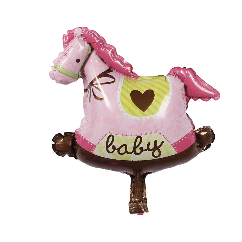 Rocking horse pink baby girl mini foil balloon