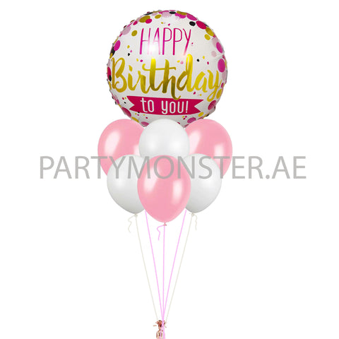 Pink and white birthday balloons bouquet 1 - PartyMonster.ae