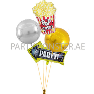 Popcorn party foil balloons bouquet - PartyMonster.ae