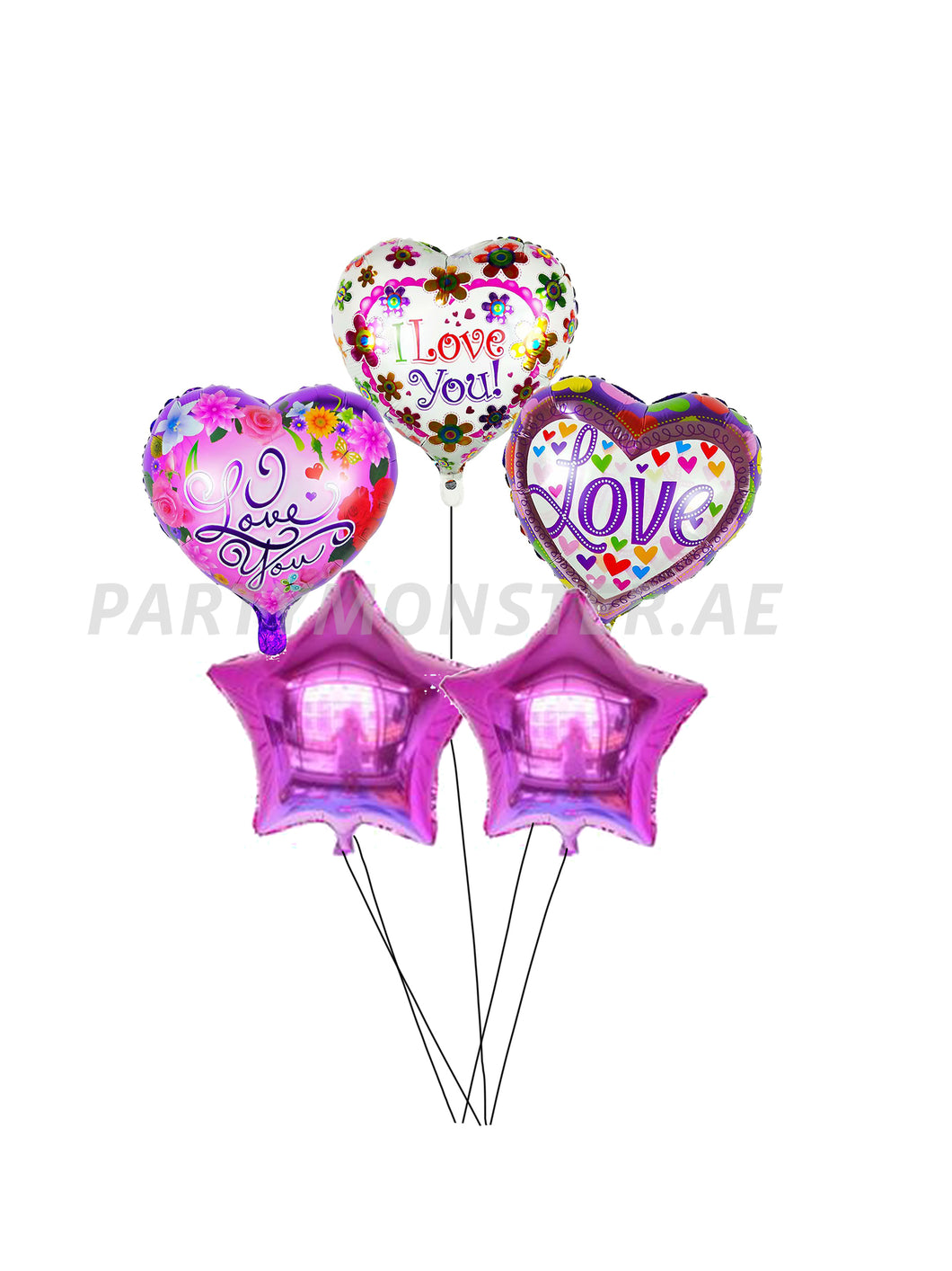 Purple love balloons bouquet - PartyMonster.ae