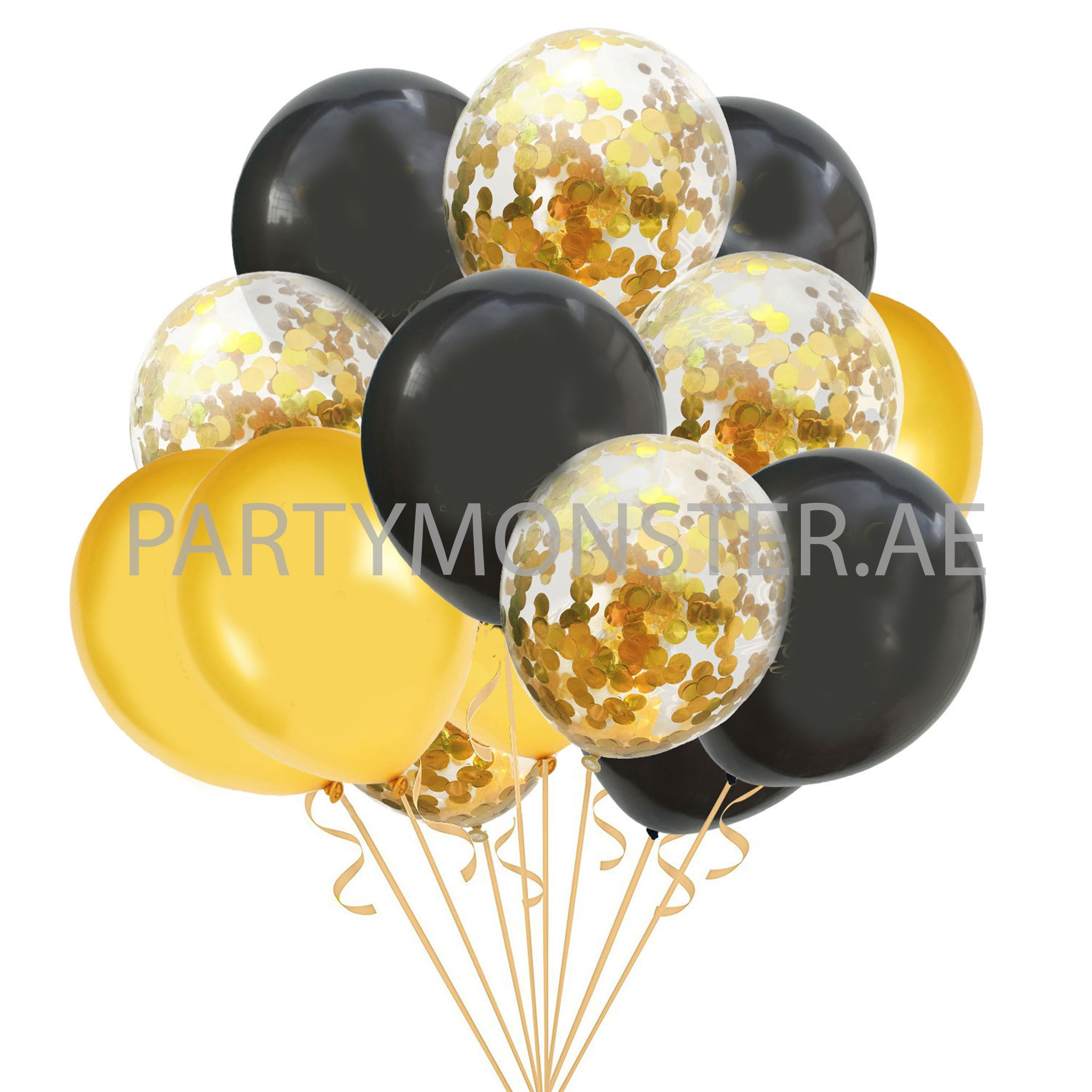 Black and golden latex balloons bouquet - PartyMonster.ae