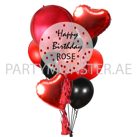 Red Customised Balloons Bouquet