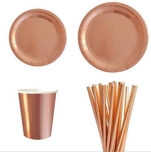 Rosegold table cutlery/birthda,weddings,celebrations, party set - PartyMonster.ae