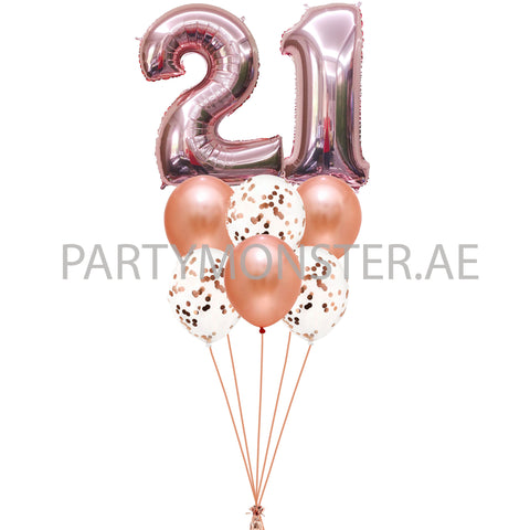 Rose gold any numbers foil & latex balloons bouquet - PartyMonster.ae