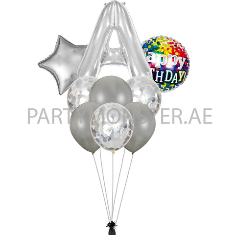Any silver alphabet foil balloons bouquet - PartyMonster.ae