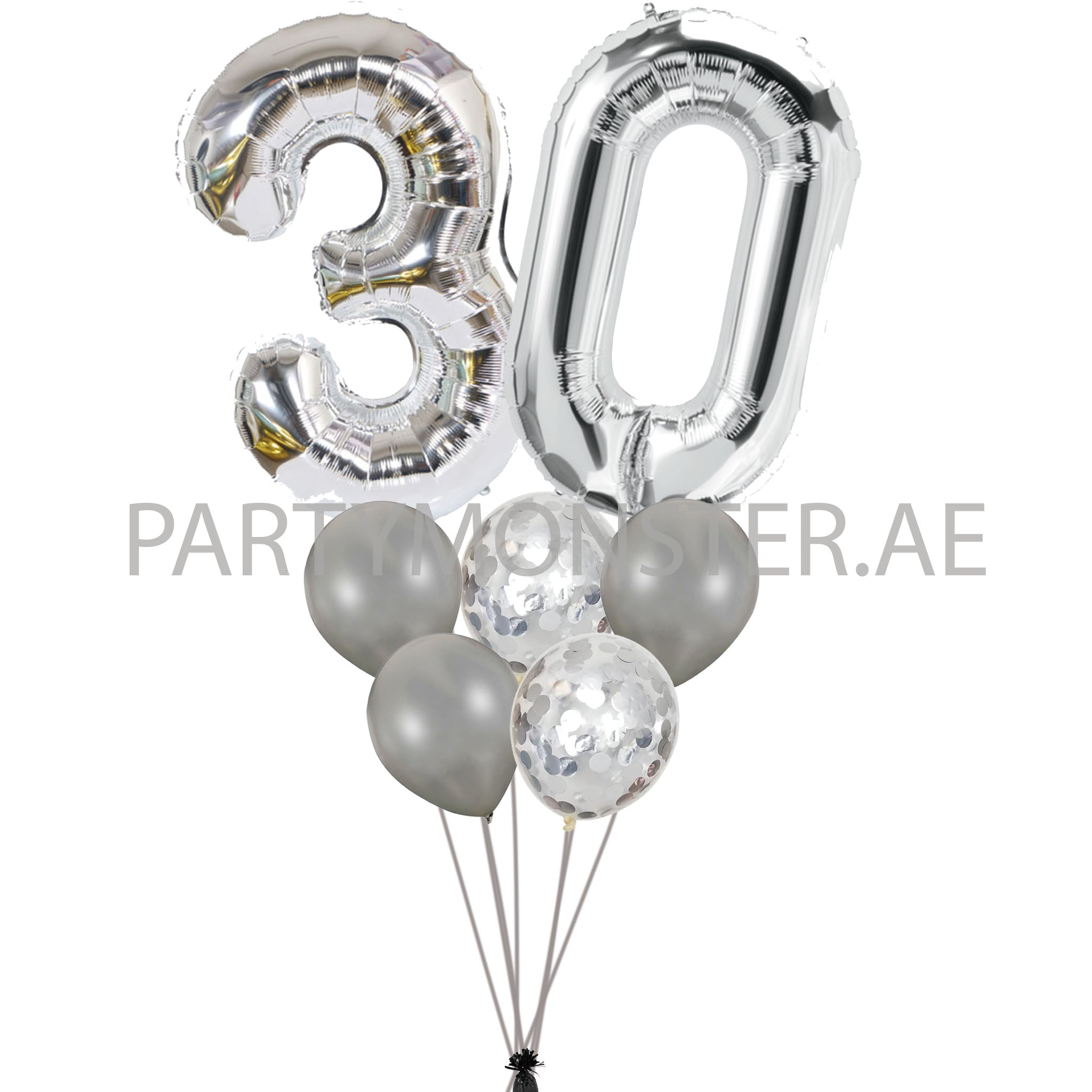 Any silver number balloons bouquet - PartyMonster.ae