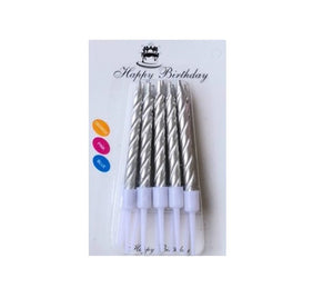 Silver Cake Top Spiral Candles -10pcs - PartyMonster.ae