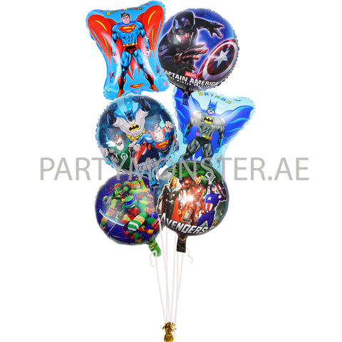 Super Heroes balloons bouquet - PartyMonster.ae