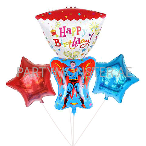 Superman birthday balloons bouquet - PartyMonster.ae