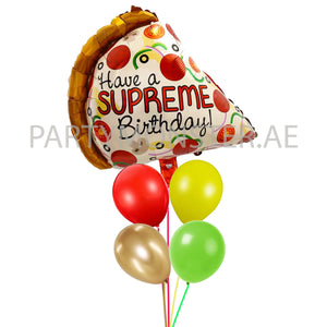 Supreme Pizza birthday balloons bouquet - PartyMonster.ae