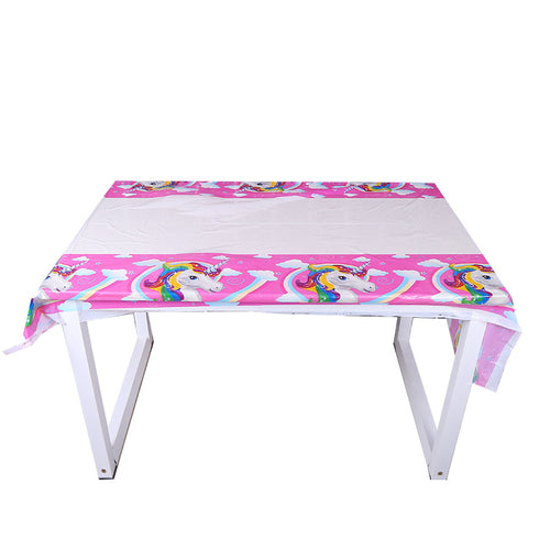 Unicorn themed plastic disposable table cover mat