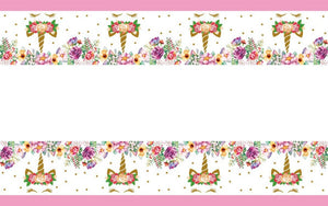 Unicorn horn themed plastic disposable table cover mat