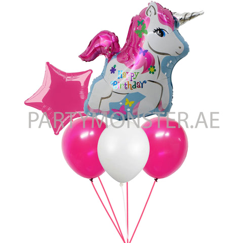 Unicorn birthday foil and latex balloons bouquet - PartyMonster.ae