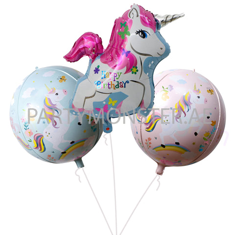 Unicorn birthday foil balloons bouquet - PartyMonster.ae