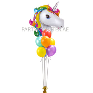 Unicorn foil and latex balloons bouquet - PartyMonster.ae