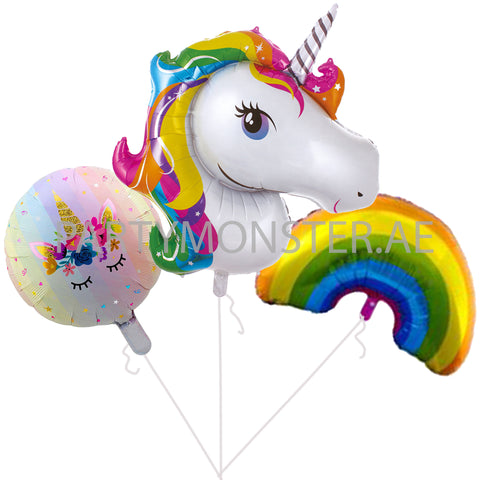 Unicorn foil balloons bouquet 02 - PartyMonster.ae