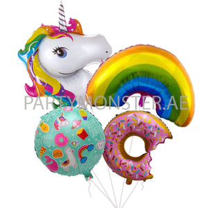 Unicorn foil balloons bouquet 03 - PartyMonster.ae