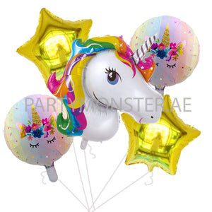 Unicorn foil balloons bouquet - PartyMonster.ae