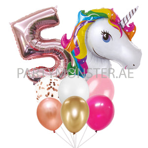 Unicorn with any number balloons bouquet - PartyMonster.ae