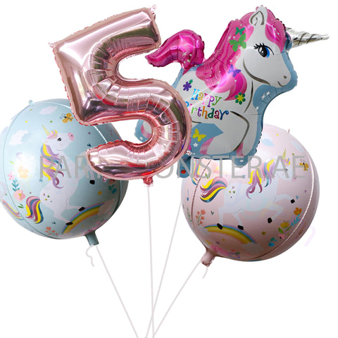 Unicorn with any number birthday balloons bouquet - PartyMonster.ae
