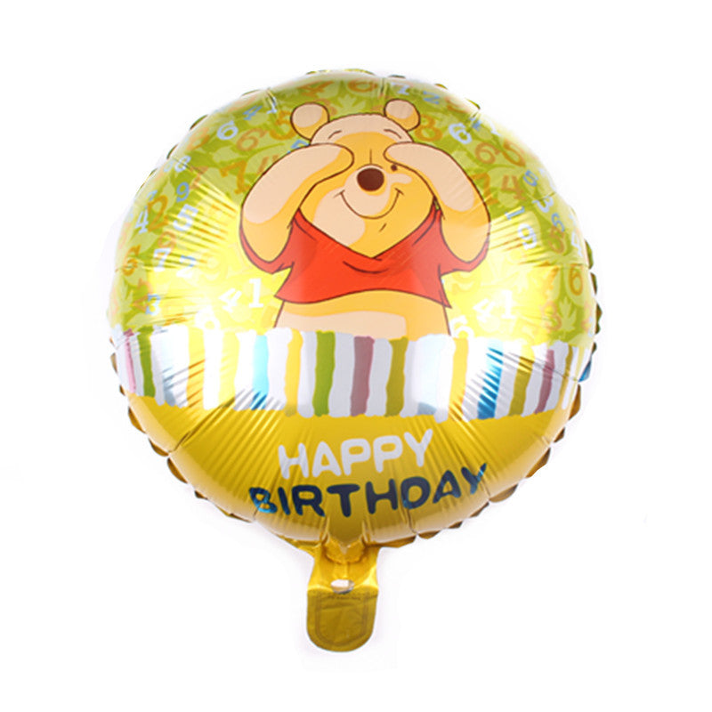 Winnie the Pooh Bear Happy Birthday foil balloon -18inches - PartyMonster.ae