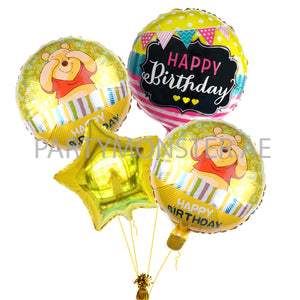 Winnie the Pooh birthday balloons bouquet - PartyMonster.ae