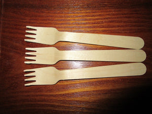 Wooden forks-16cm each of 100 pieces in a bag - PartyMonster.ae