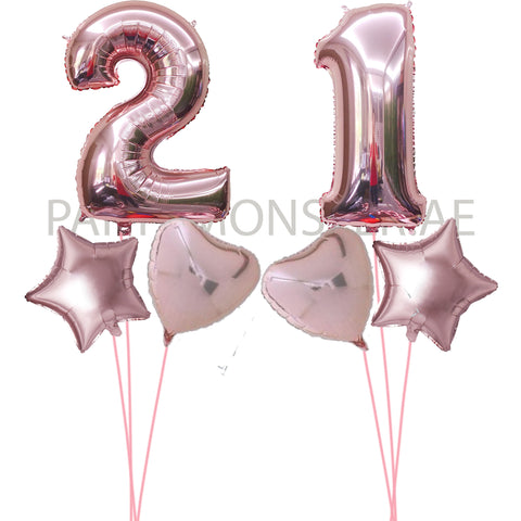Any rose gold numbers with foil balloons bouquets - PartyMonster.ae