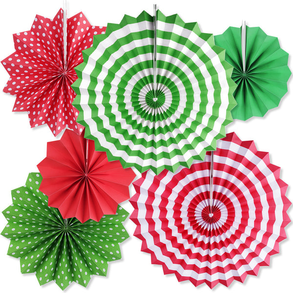 Red and green paper fans hanging decor for sale online in Dubai