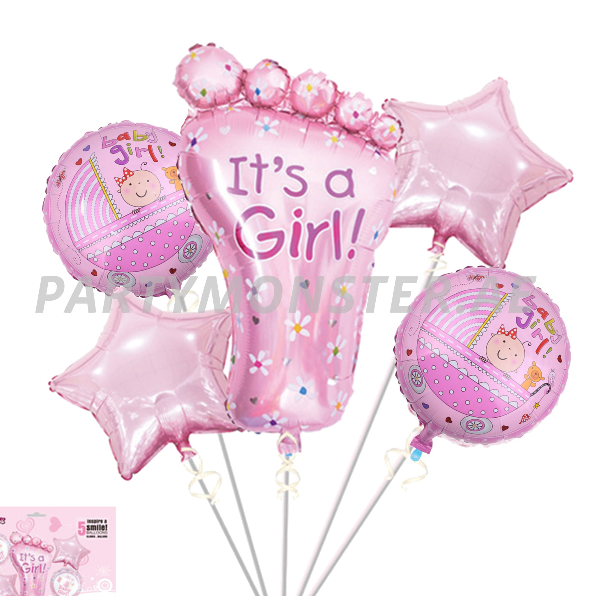 Baby Girl foot foil balloons bouquet - PartyMonster.ae