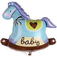 Rocking horse blue baby boy mini foil balloon - PartyMonster.ae