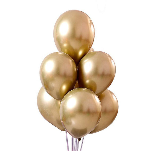 Golden chrome latex balloons bouquet for sale online in Dubai