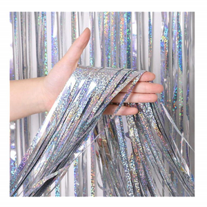 Silver Tinsel Curtain Tassel Backdrop for parties