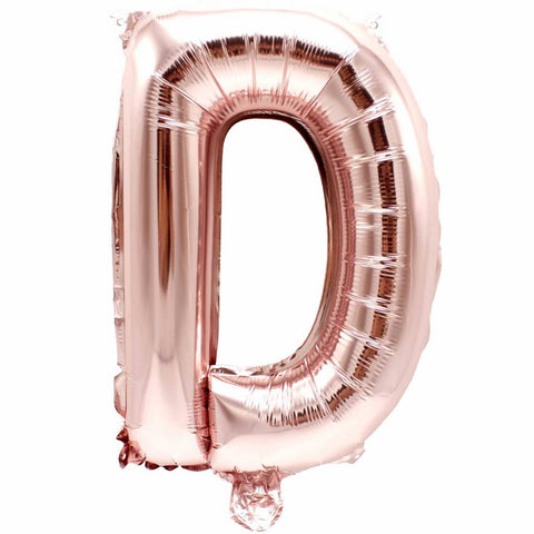 Letter D rose gold foil balloon for sale online in Dubai