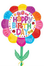 Happy Birthday Flower Supershape Colourful Foil Balloon -111 cm x 83cm - PartyMonster.ae