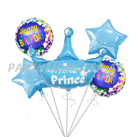 Happy Birthday Prince foil balloons bouquet - PartyMonster.ae