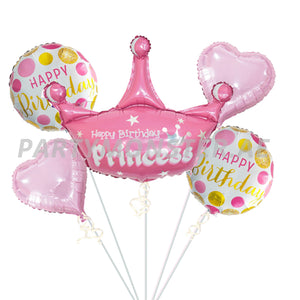 Happy Birthday Princess foil balloons bouquet - PartyMonster.ae