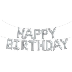 Silver Happy Birthday Balloon Bunting Set - PartyMonster.ae