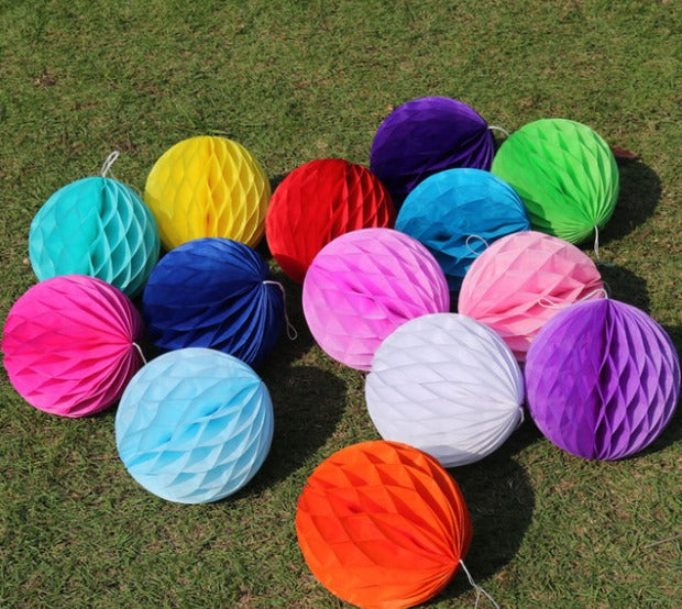 Honey comb balls 25cm each /10 pcs of Hot pink, light pink,white, red, light blue, turquoise, yellow - PartyMonster.ae