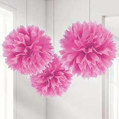 Pom Pom Hanging Tissue Decoration - Hot Pink - PartyMonster.ae