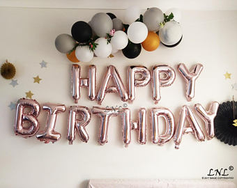 Rose Gold Happy Birthday Balloon Bunting Set - PartyMonster.ae