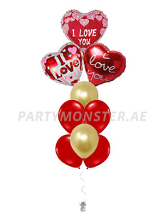 I Love You foil balloons bouquet 1 - PartyMonster.ae