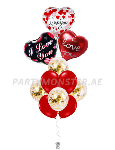 I Love You foil balloons bouquet 2 - PartyMonster.ae