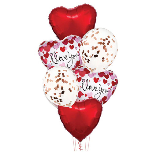 I Love You foil balloons bouquet 3 - PartyMonster.ae